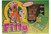 Filly, samlarbox + två hästar